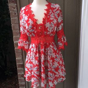 NWT Emory Park Red floral lace dress L